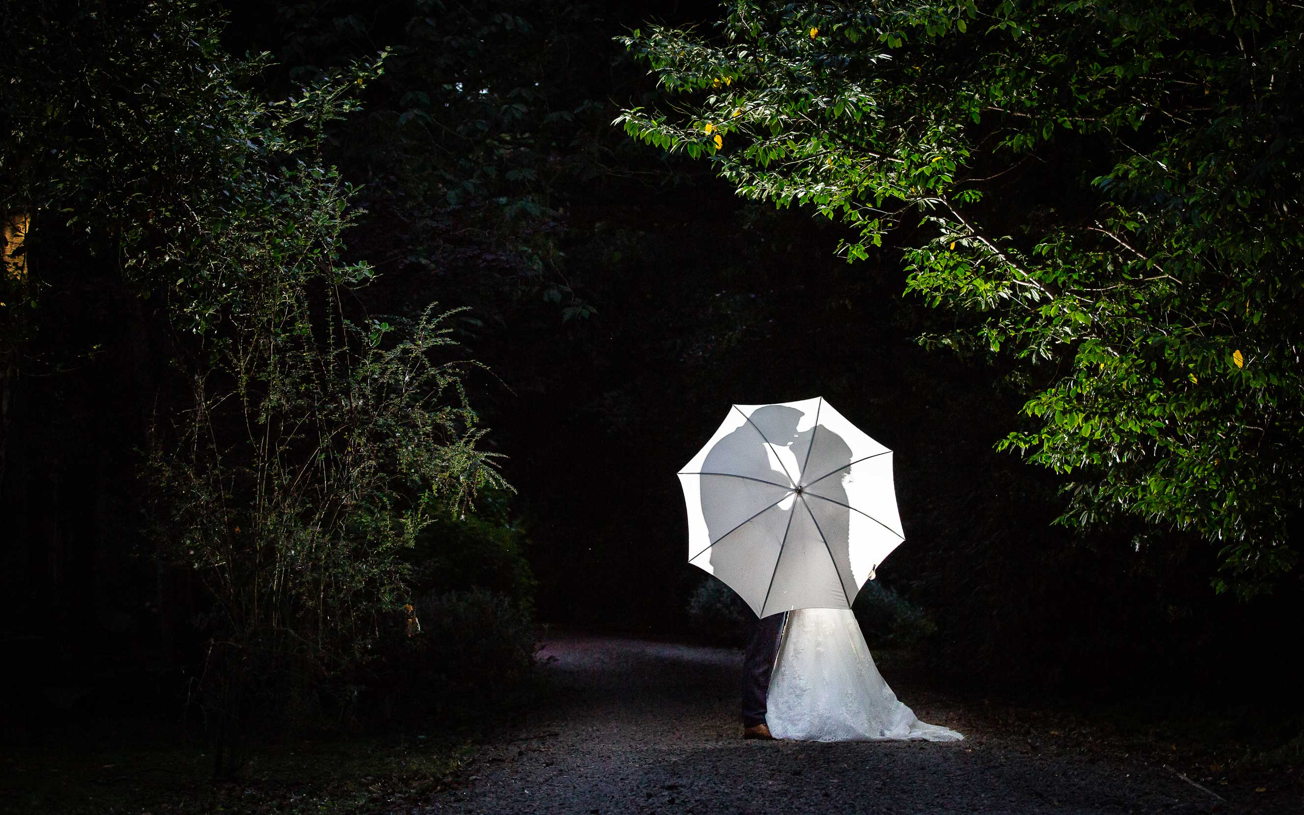 Photo of bride and groom hiding behind brolly