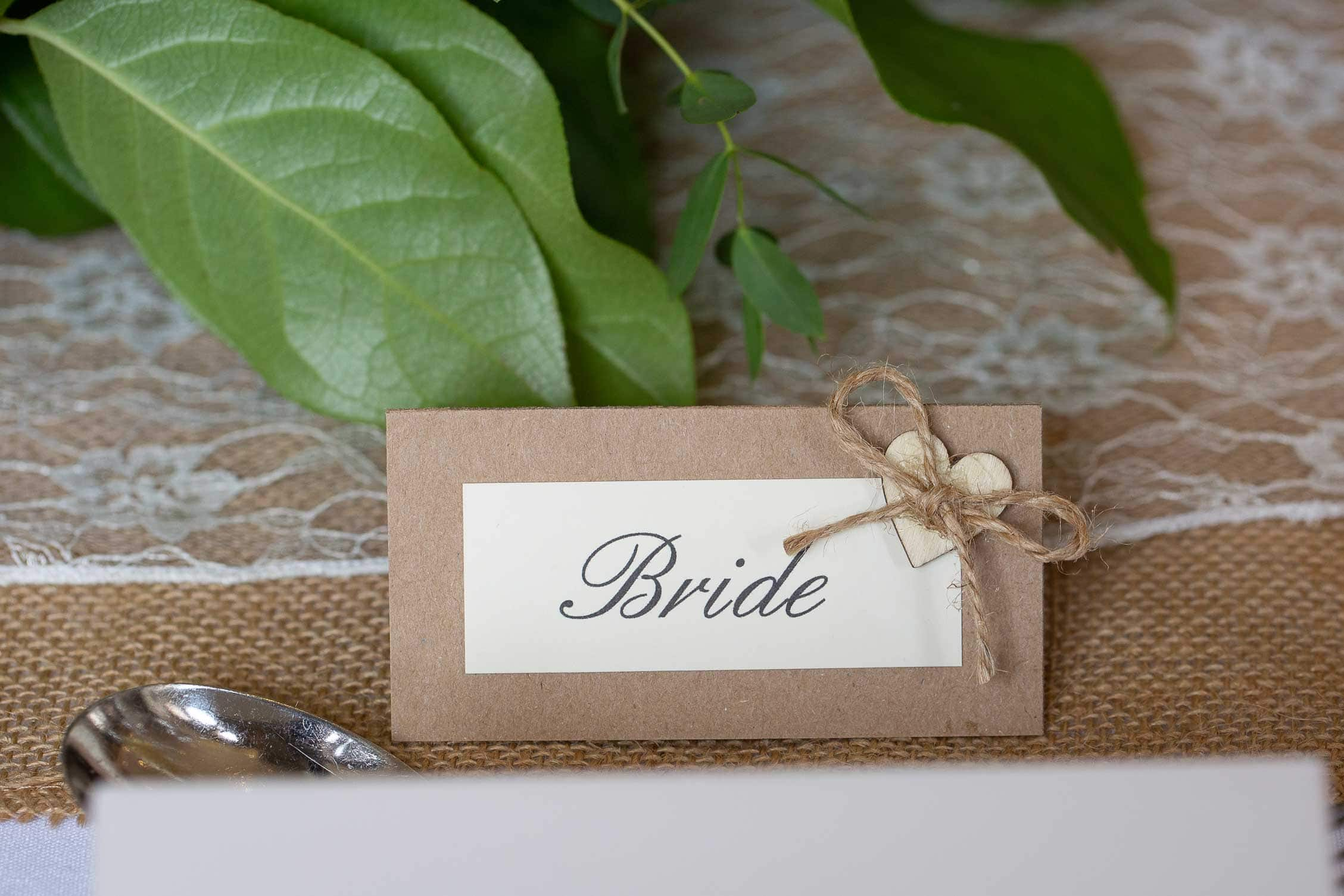 photo of the brides name card