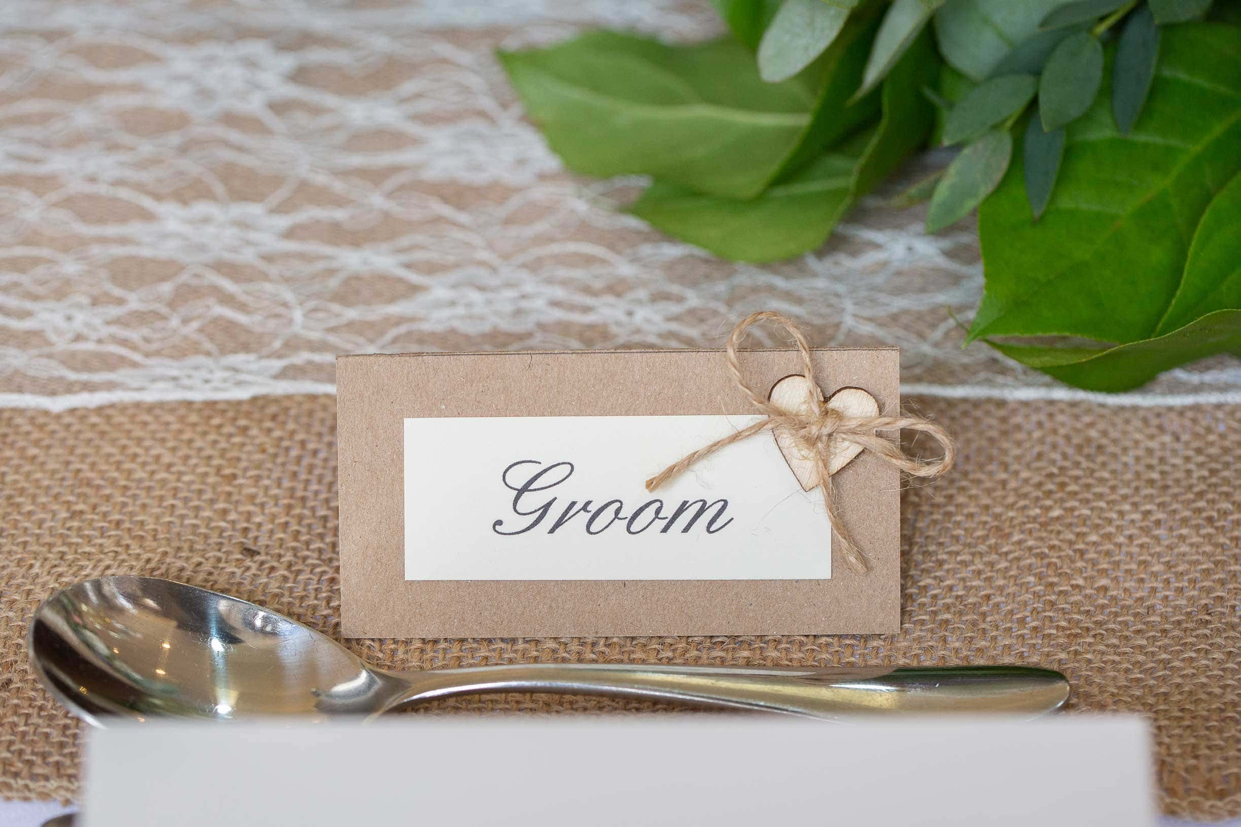 photo of the Grooms name card