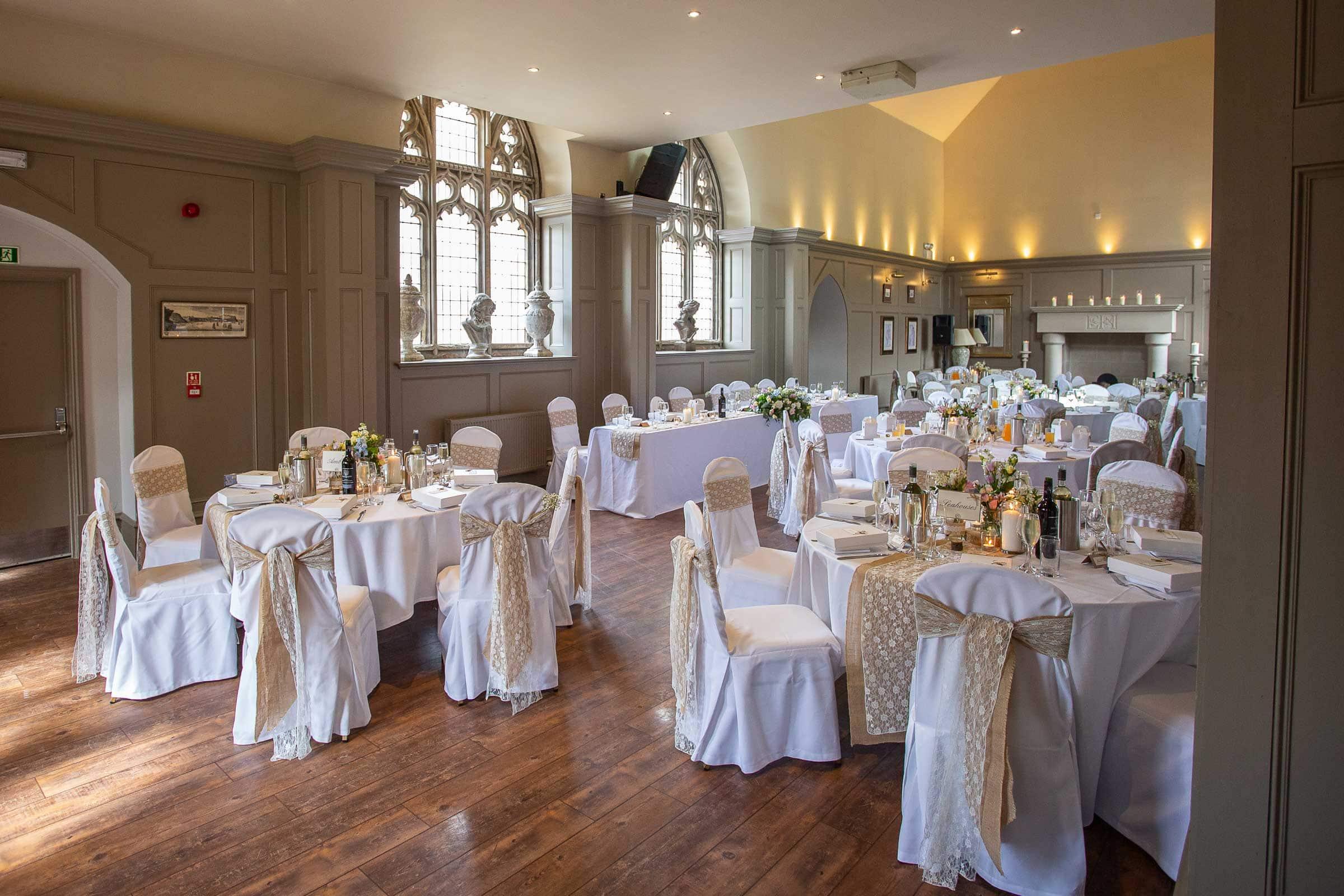 Photo of the wedding reception room at Ellingham Hall