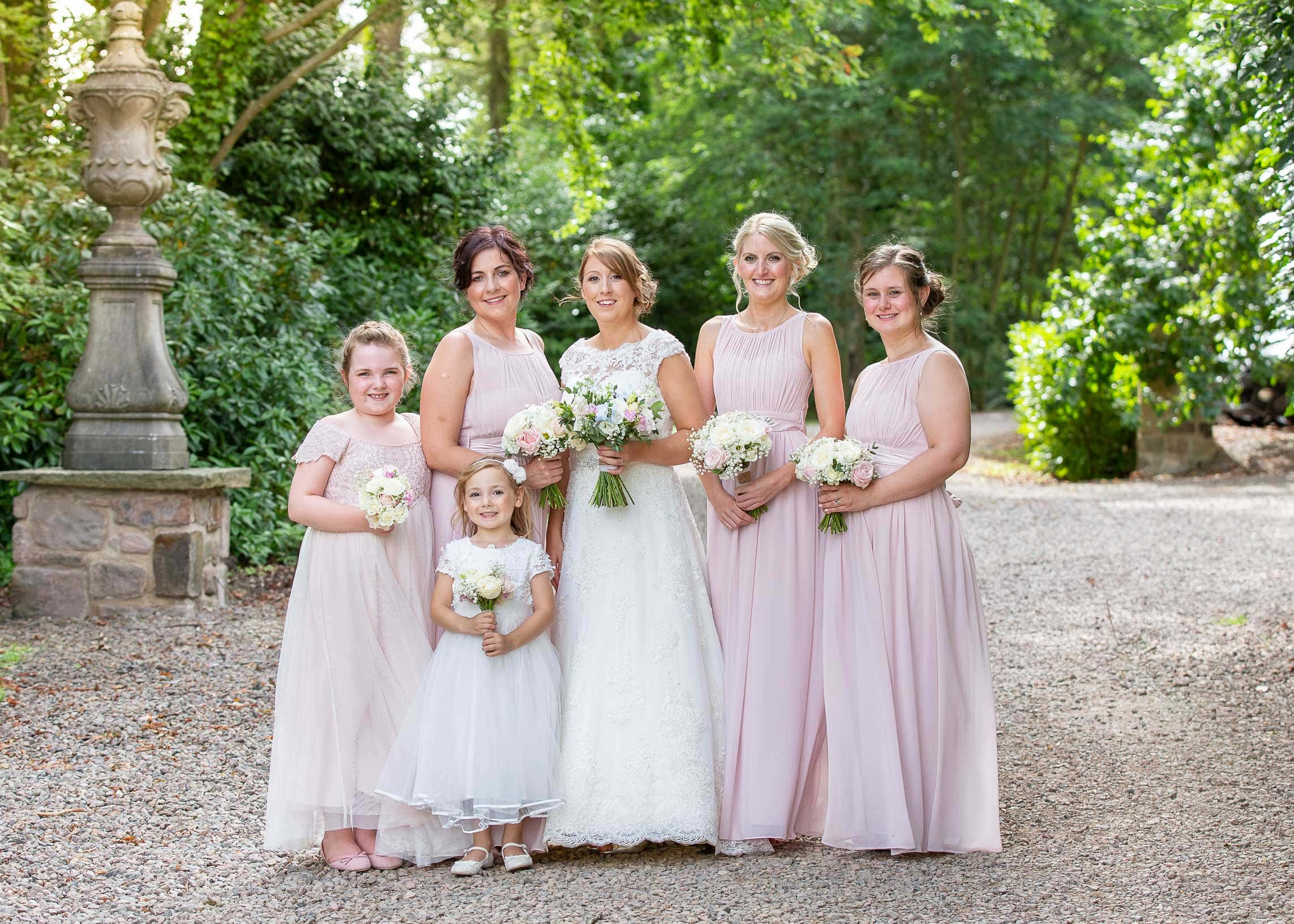 wedding photo of the bride and bridesmaids