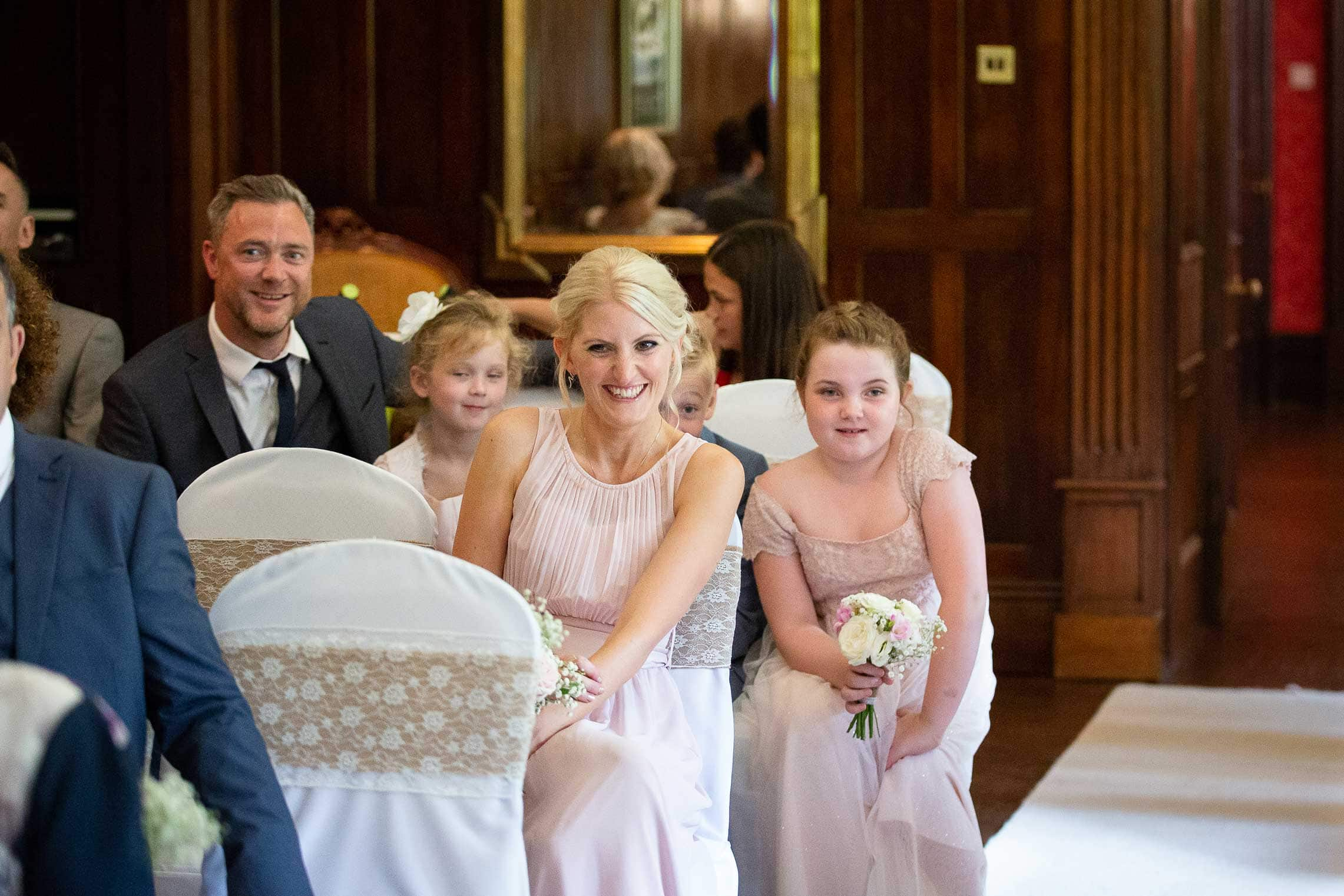 Photo of the wedding guests at Ellingham Hall