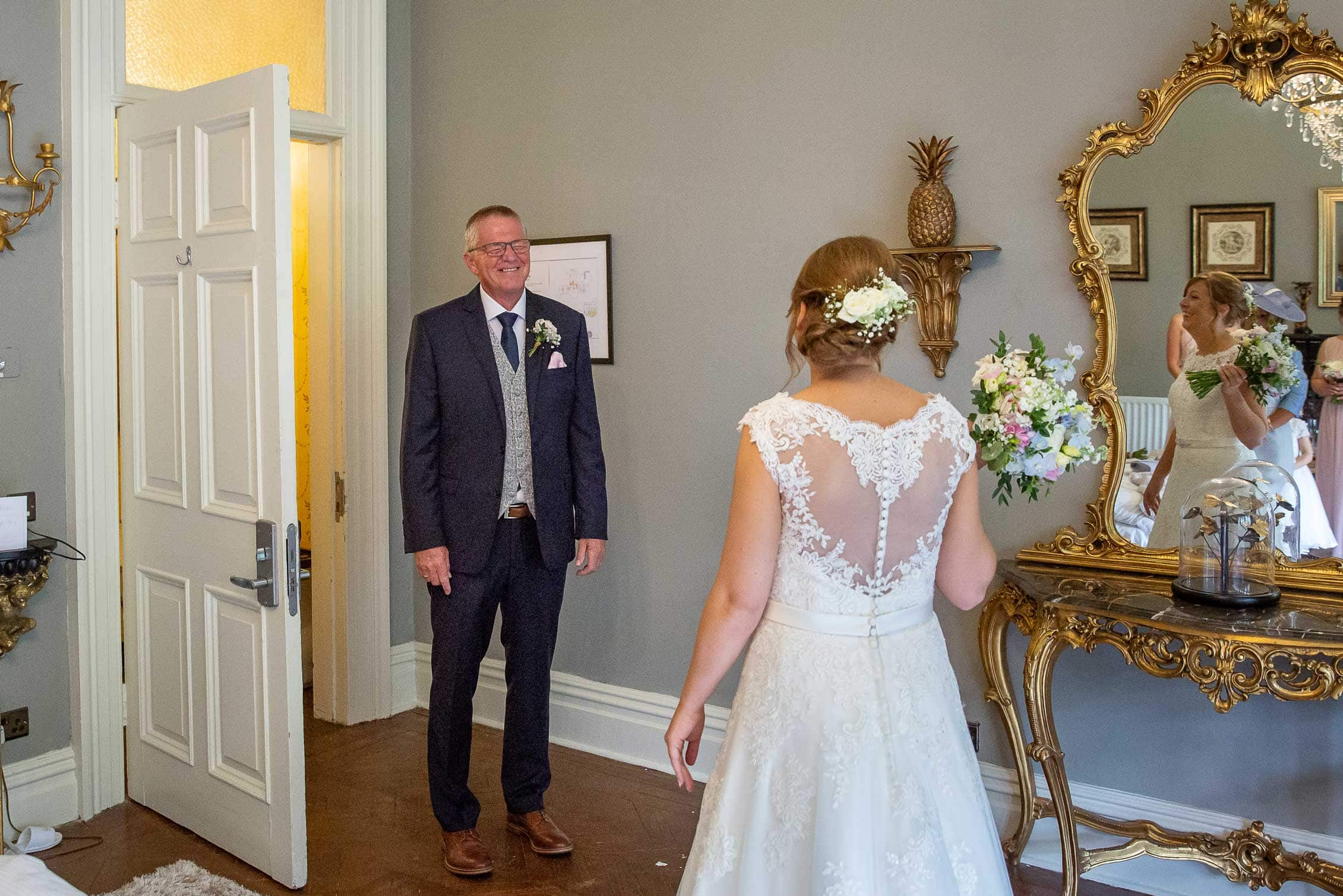 father seeing bride for the first time, Ellingham hall