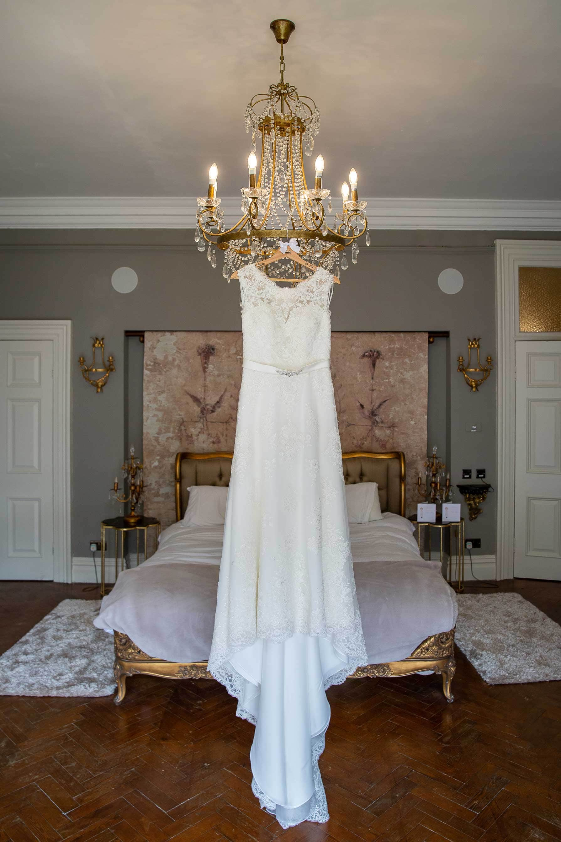 Wedding dress hanging up in Ellingham hall