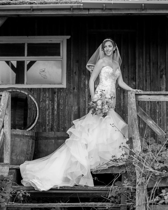 Black and white photo of bride at Derwent Manor