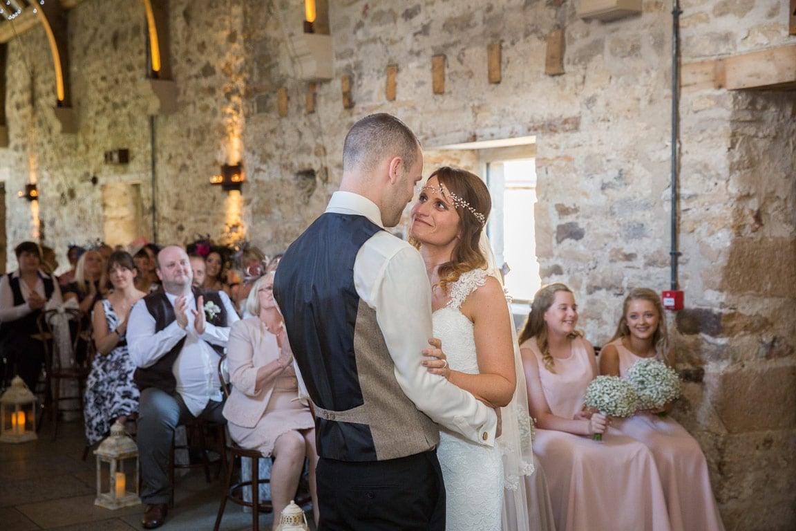 Photo of wedding ceremony at Healey Barn