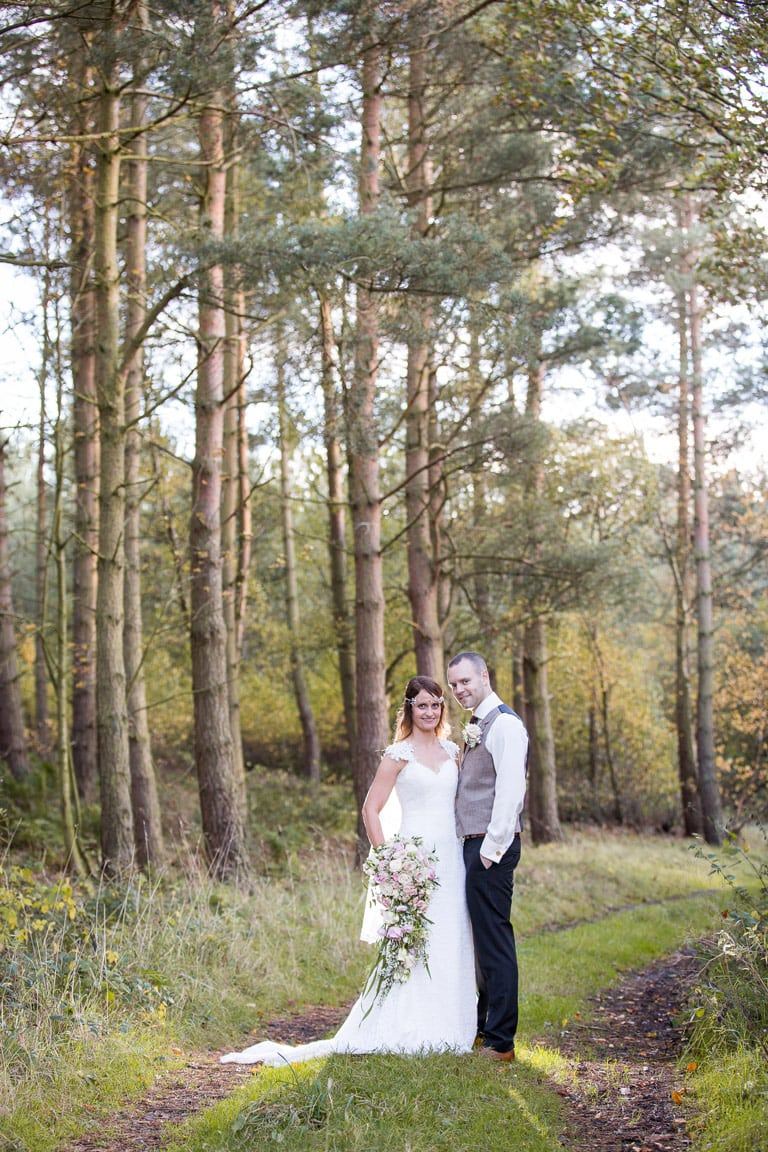 Bride and Groom at Healey Barn Woods