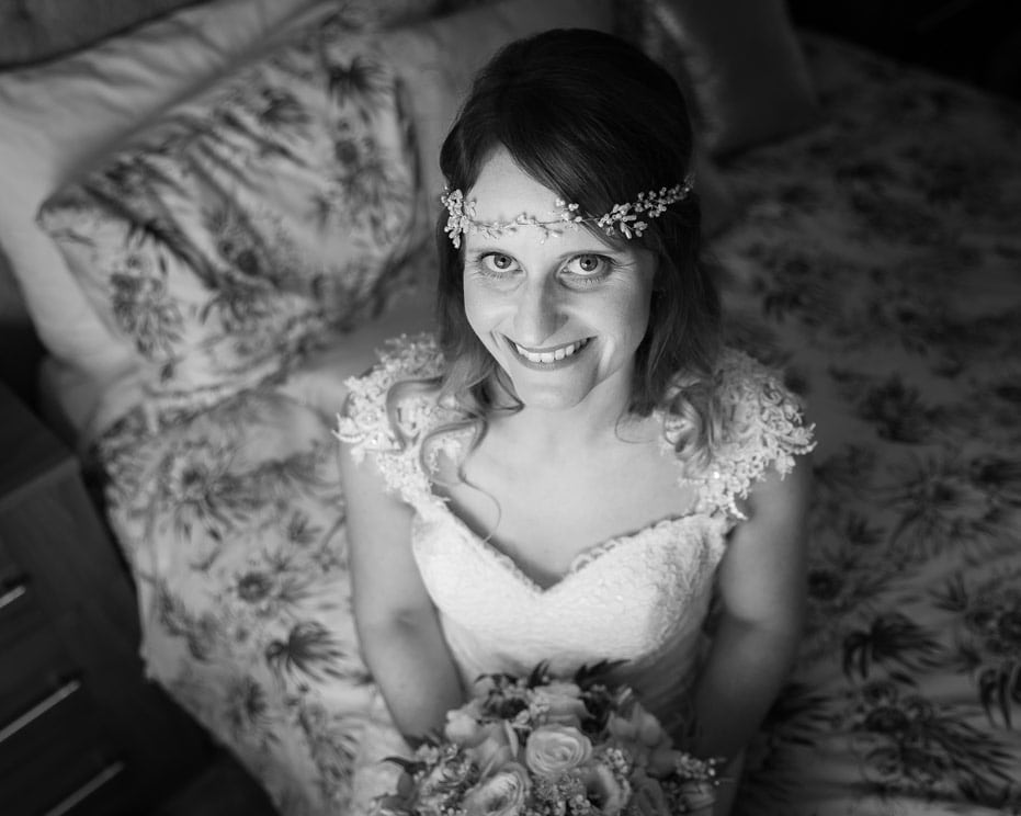 Photo of bride before Healey Barn wedding