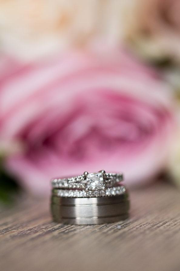 Photo of wedding rings at Healey Barn