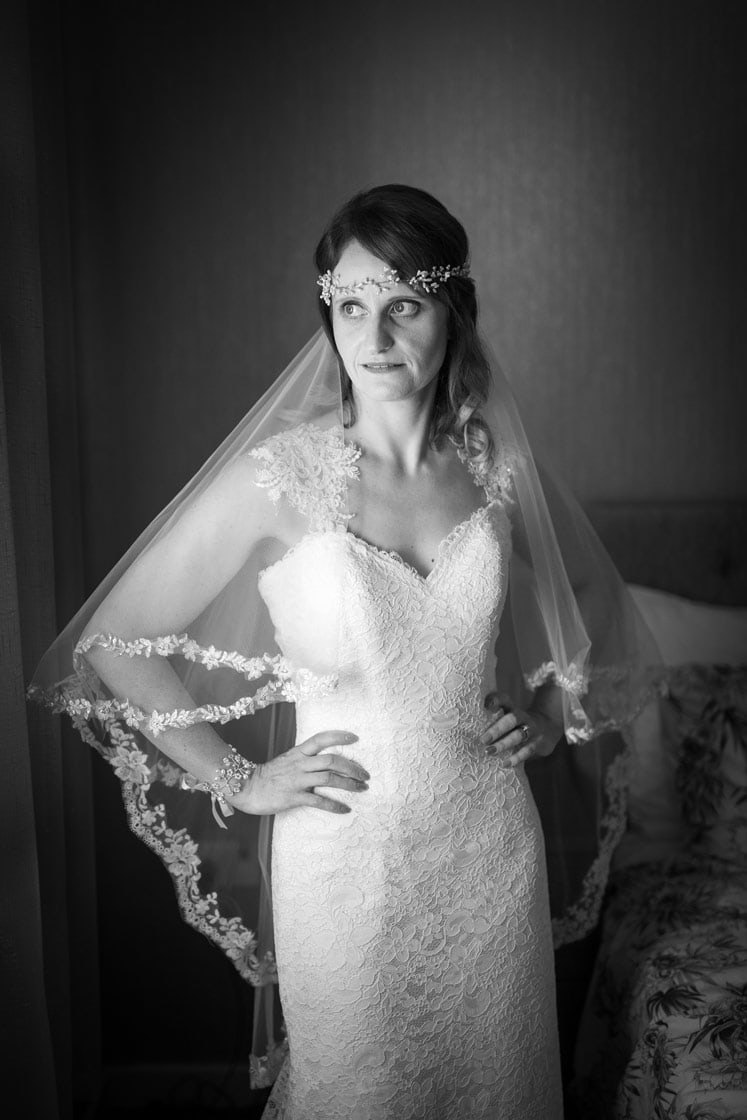 Black and white photo of Bride at Healey Barn