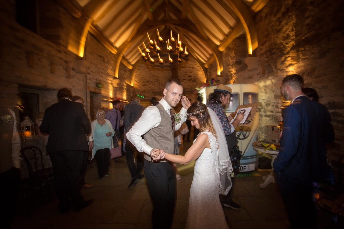 Photo of wedding couple dancing at Healey Barn