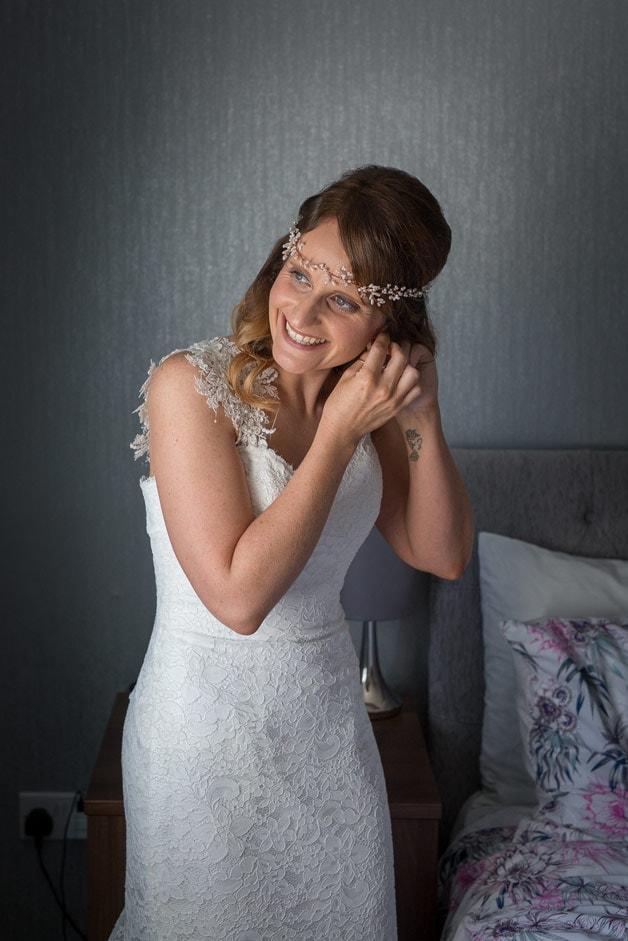 Bride getting ready at Healey Barn