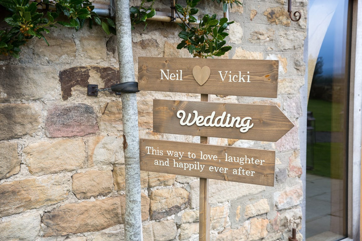 Wedding sign at Healey Barn