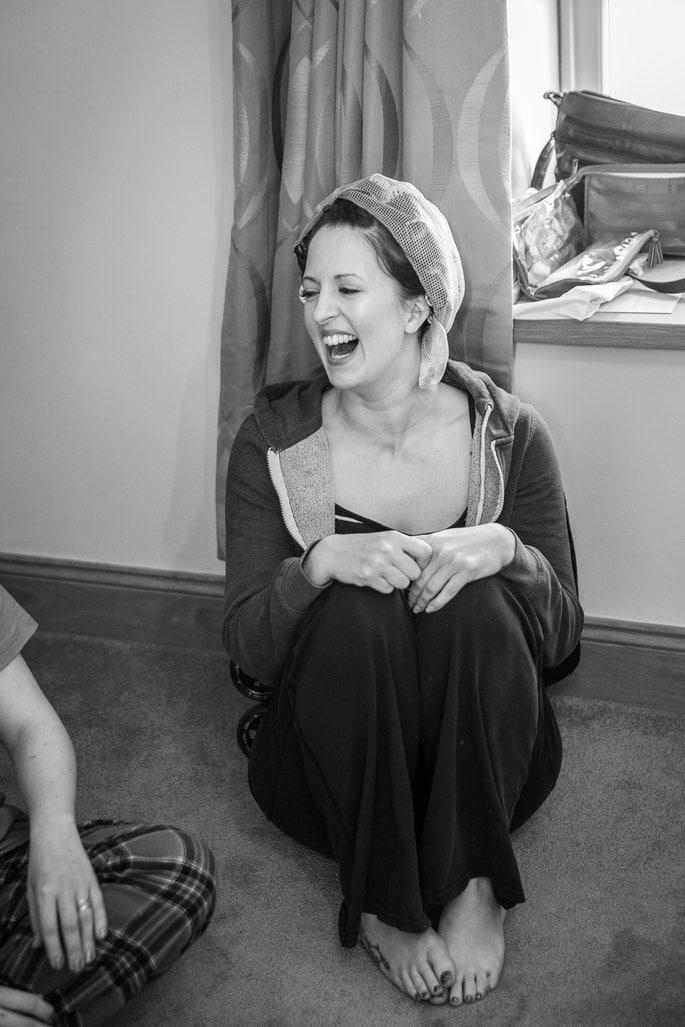 Photo of bride laughing
