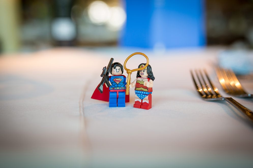 Photo of super hero table decorations at Newton Hall