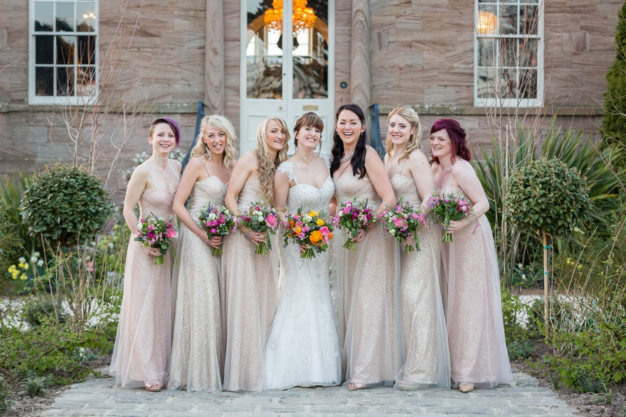 Bride and Bridesmaids at Newton Hall