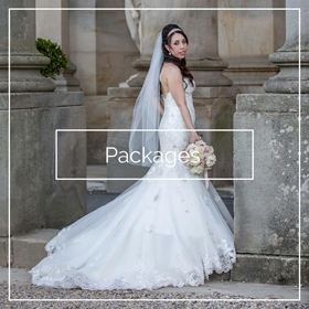 Bride posing outside Wynyard Hall