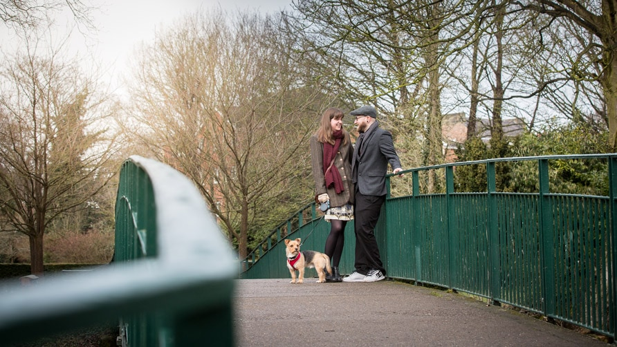 Couple with their dog on their pre wedding photography shoot