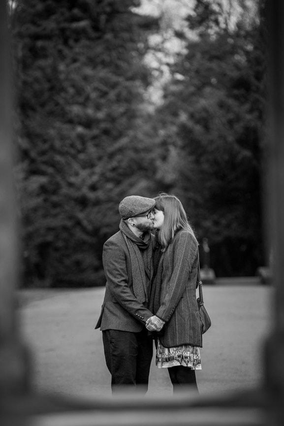 Pre wedding photography Darlington, couple kissing