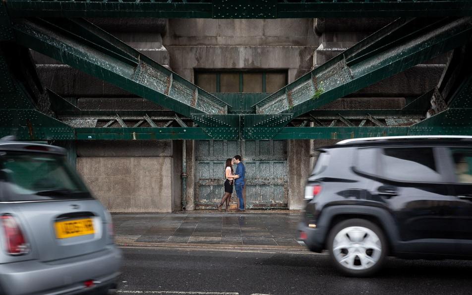 Pre Wedding Photography Newcastle, couple under bridge