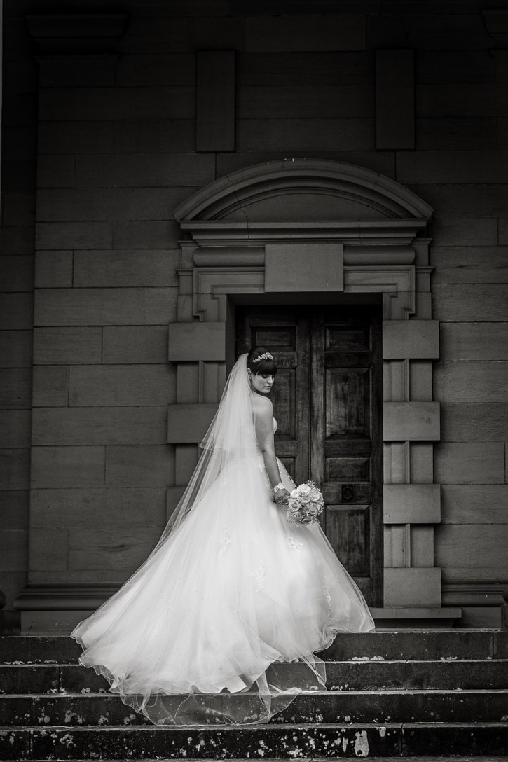 Black and white image of Bride at Durham Wedding
