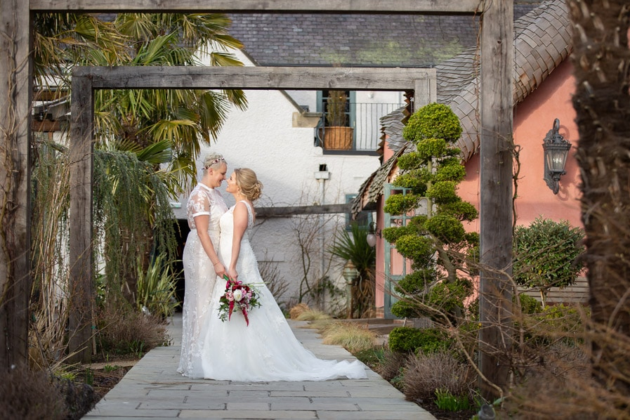 Brides at Le Petit Chateau wedding