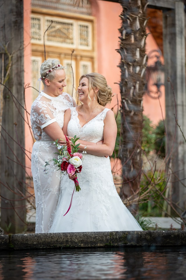 Brides laughing at each other