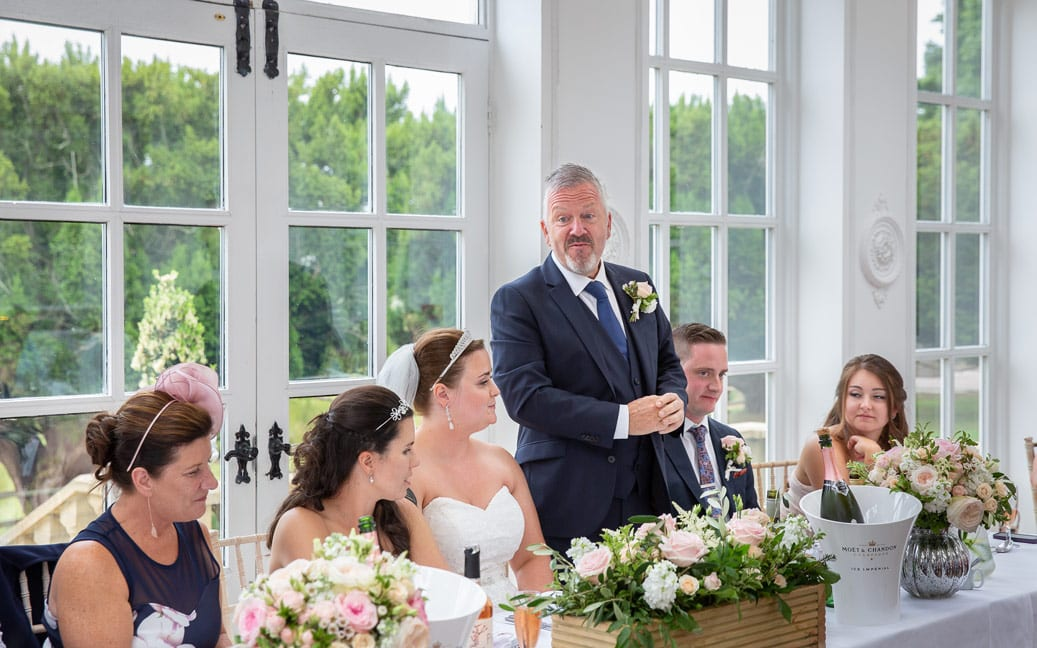 Father giving speech at wedding