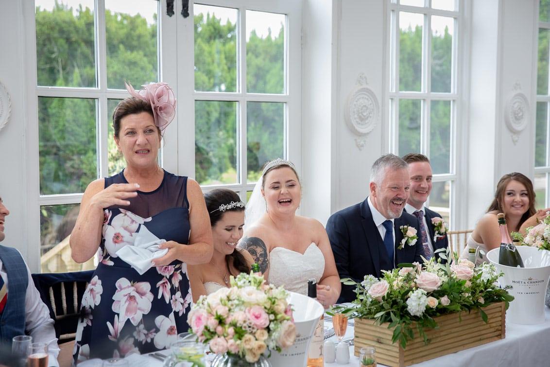 Mum giving speech at Woodhill Hall wedding