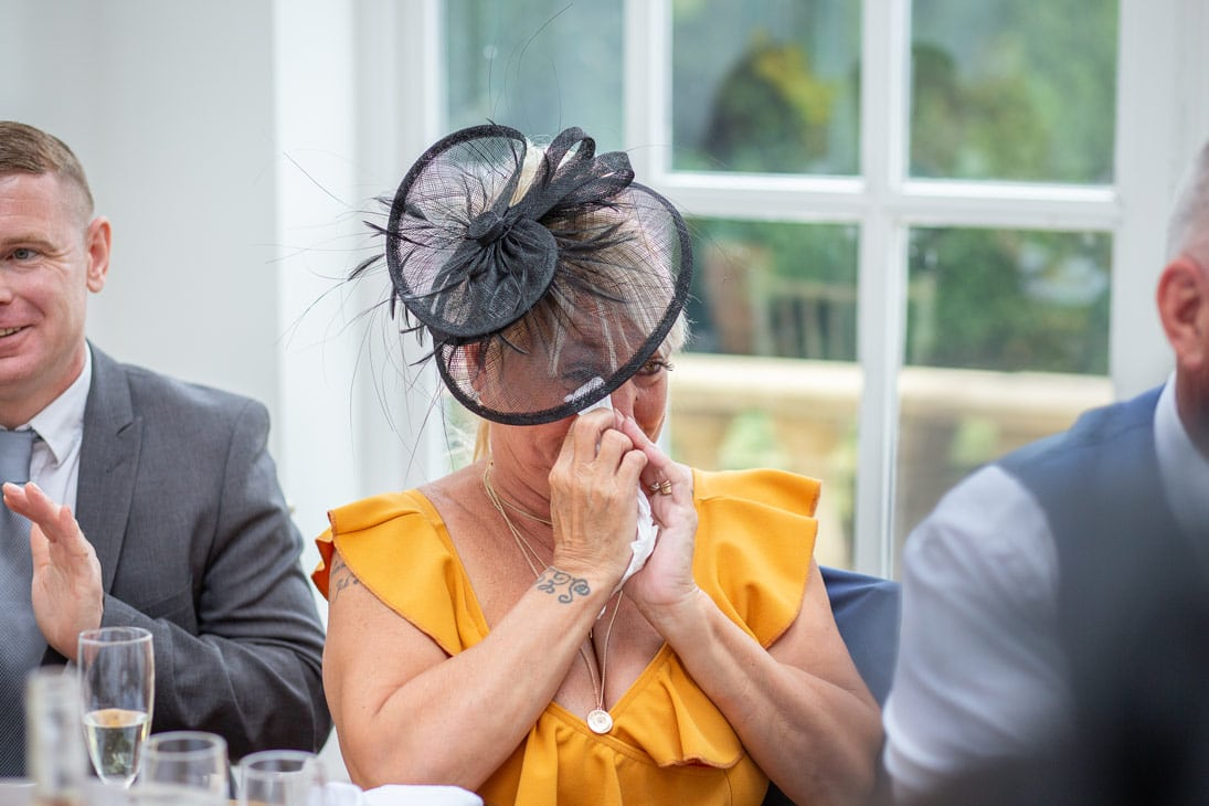 photo of Guest crying during wedding speeches