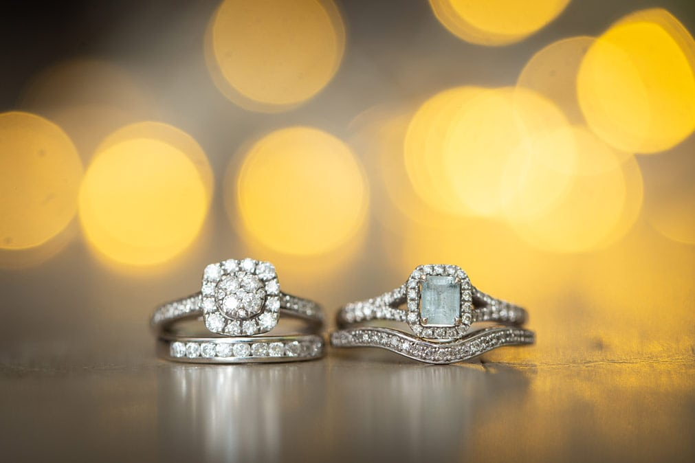 photo of wedding rings at Woodhill Hall