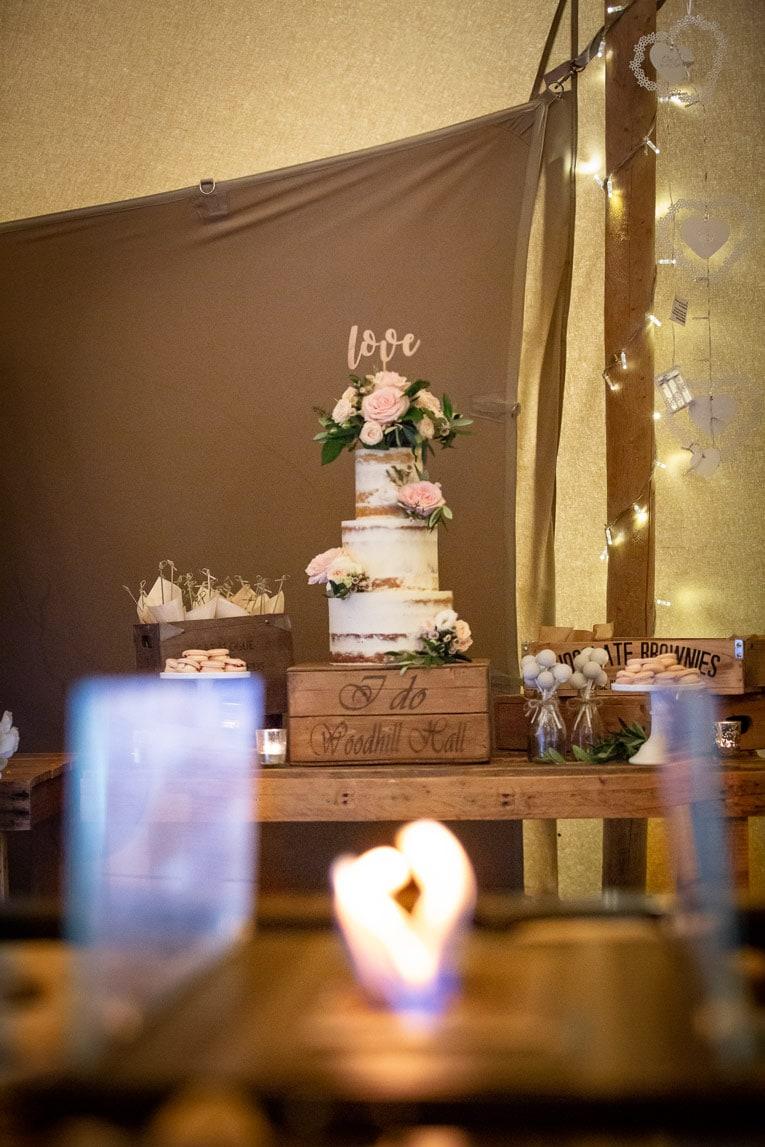 photo of the wedding cake at woodhill Hall wedding