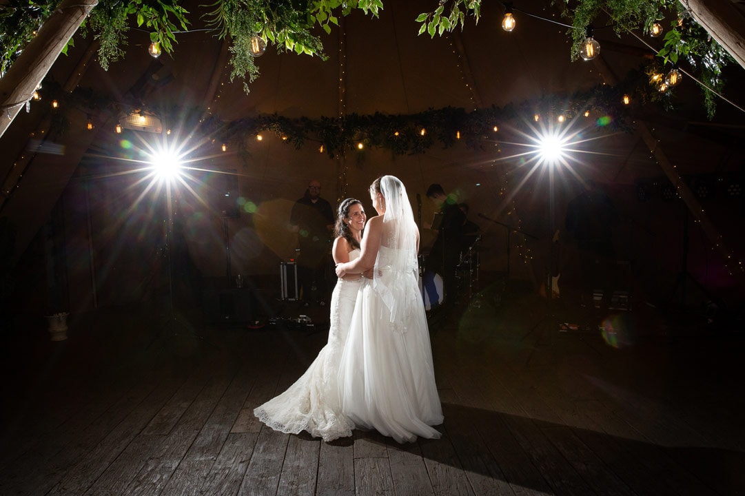 photo of brides having first Dance
