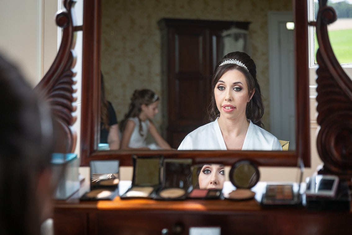 Bride getting ready at Wynyard Hall
