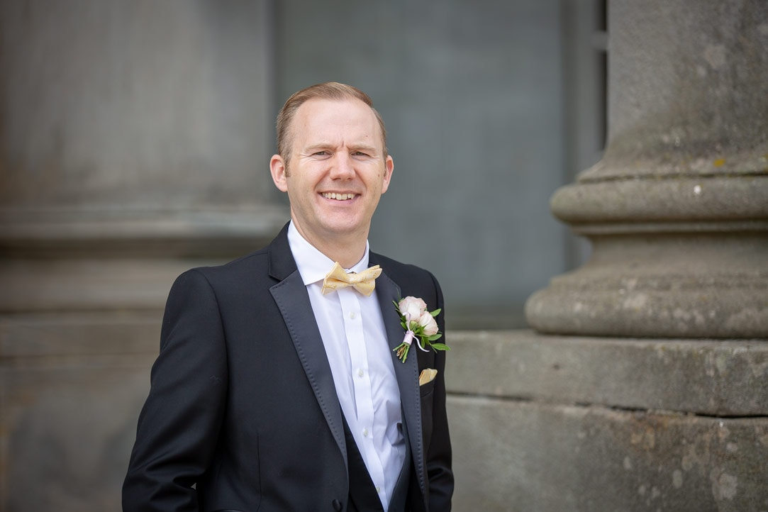 Photo of groom before wedding at Wynyard Hall