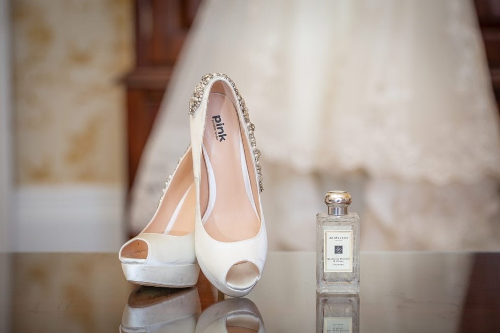 photo of brides shoes at Wynyard Hall