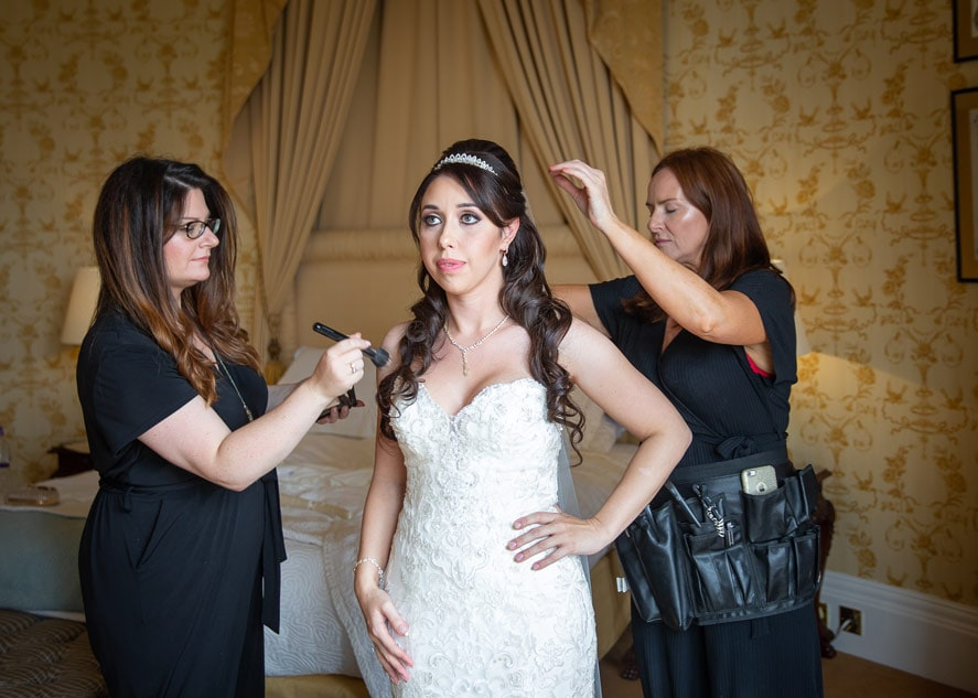 Bride getting ready at Wynyard Hall weddings