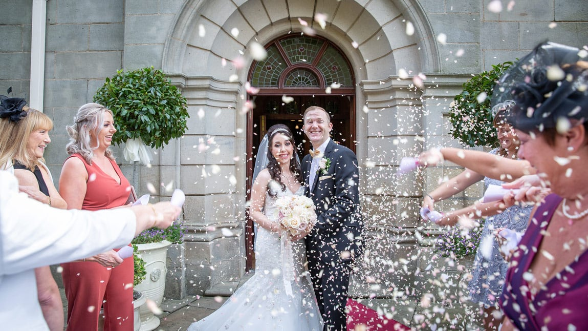 Confetti photo at Wynyard Hall
