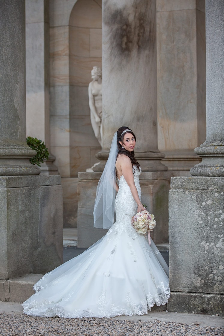 Photo of bride standing outside Wynyard Hall
