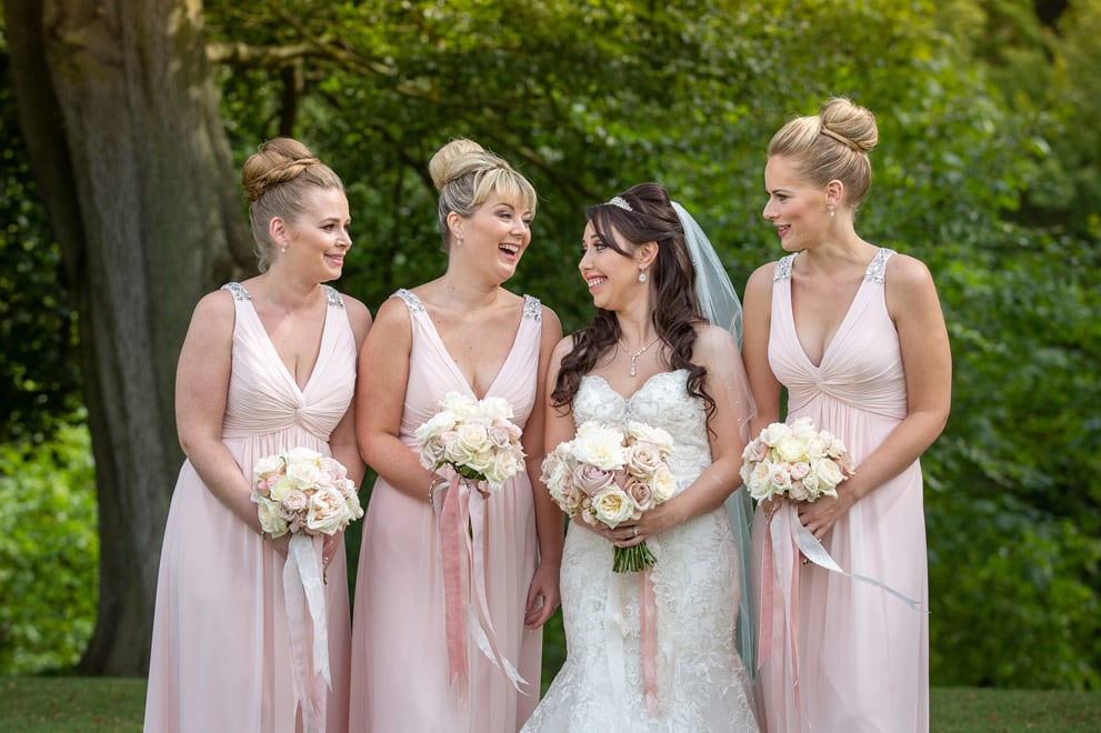 Brdie with her bridesmaids at Wynyard Hall