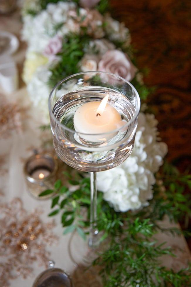 Photo of wedding decorations at Wynyard Hall