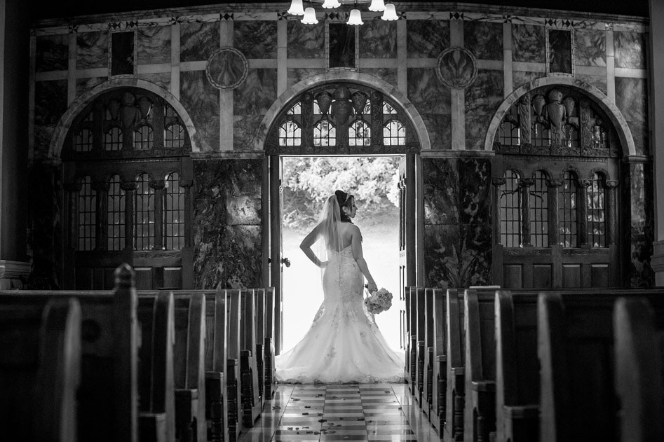 Black and White photo of bride at Wynyard Chapel