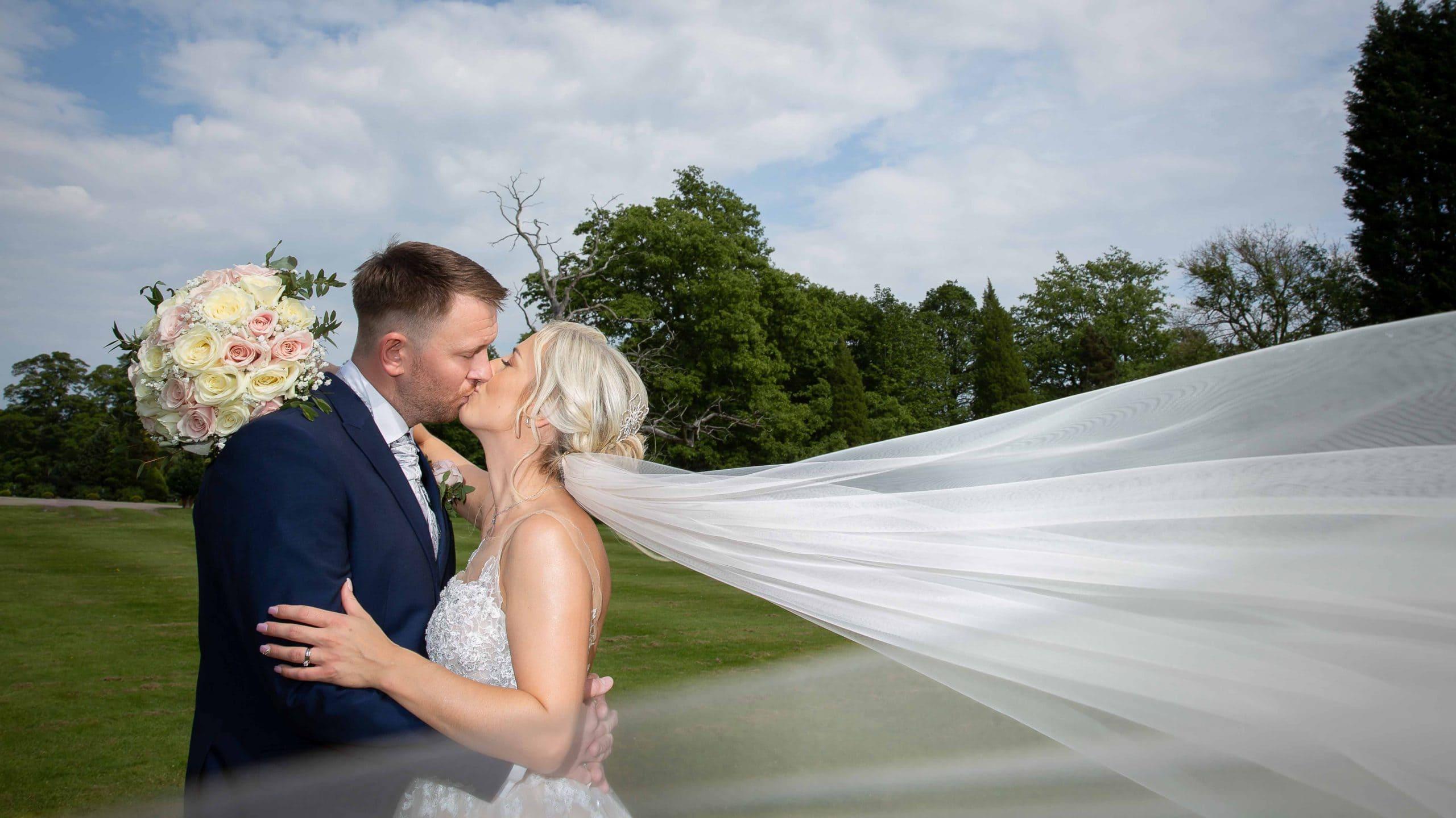Bride and Groom at Beamish Hall wedding