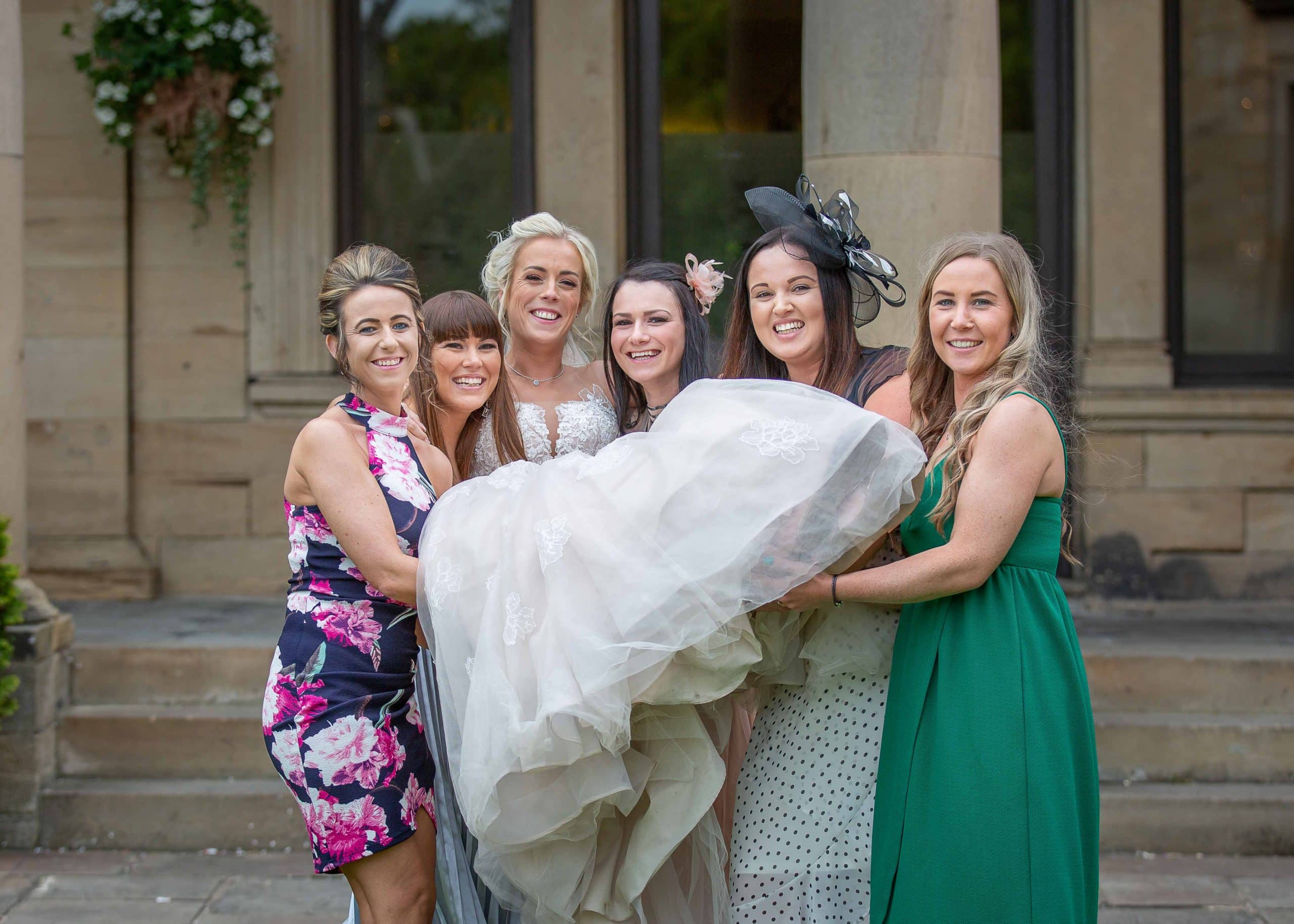 Bride and friends at Beamish Hall wedding Photography