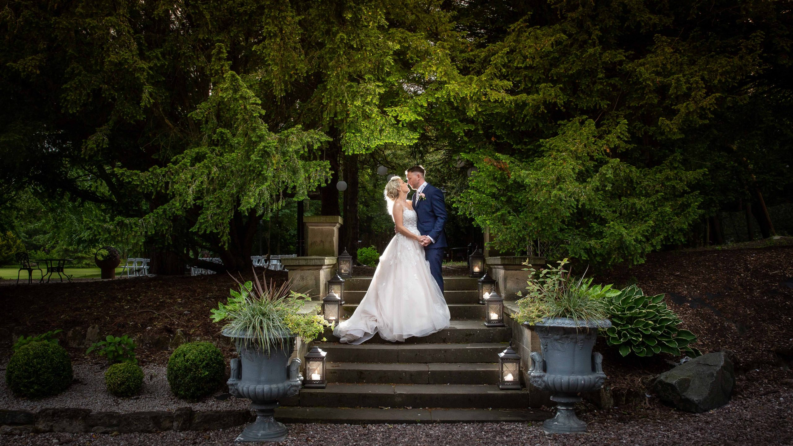 Bride and Groom at Beamish Hall