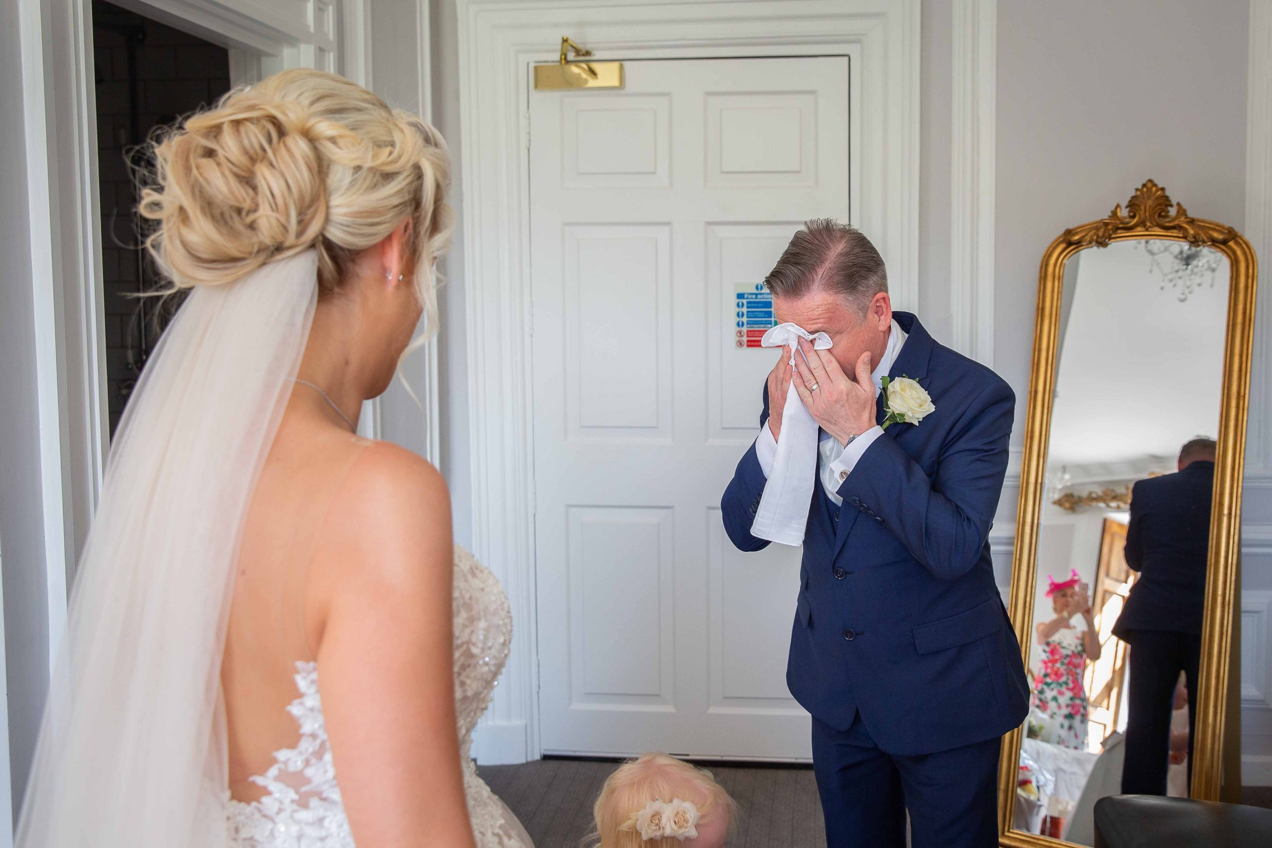 Brides father crying before wedding at Beamish Hall