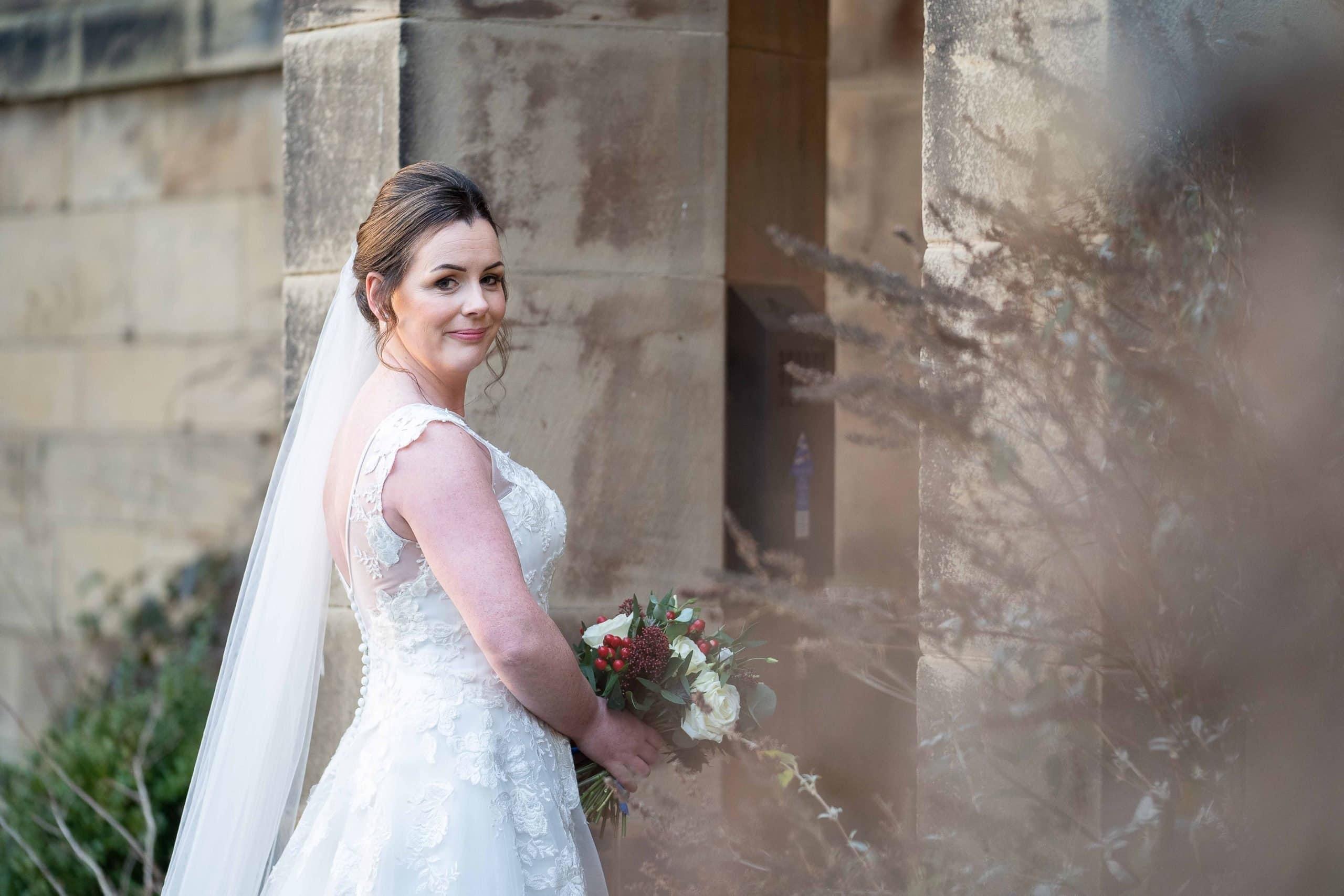 Beautiful bride at Crathorne Hall