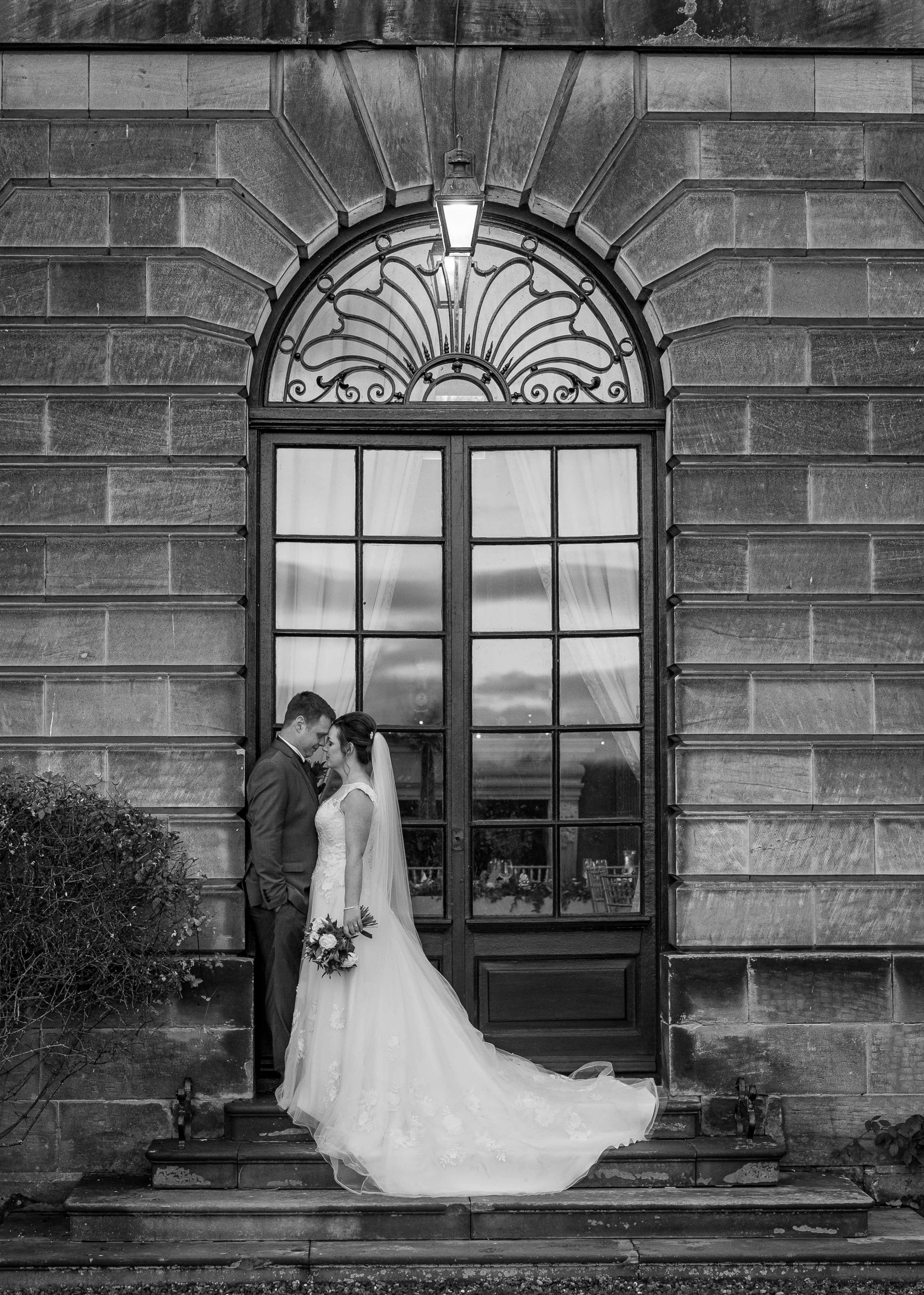 Black and white wedding photography at Crathorne Hall