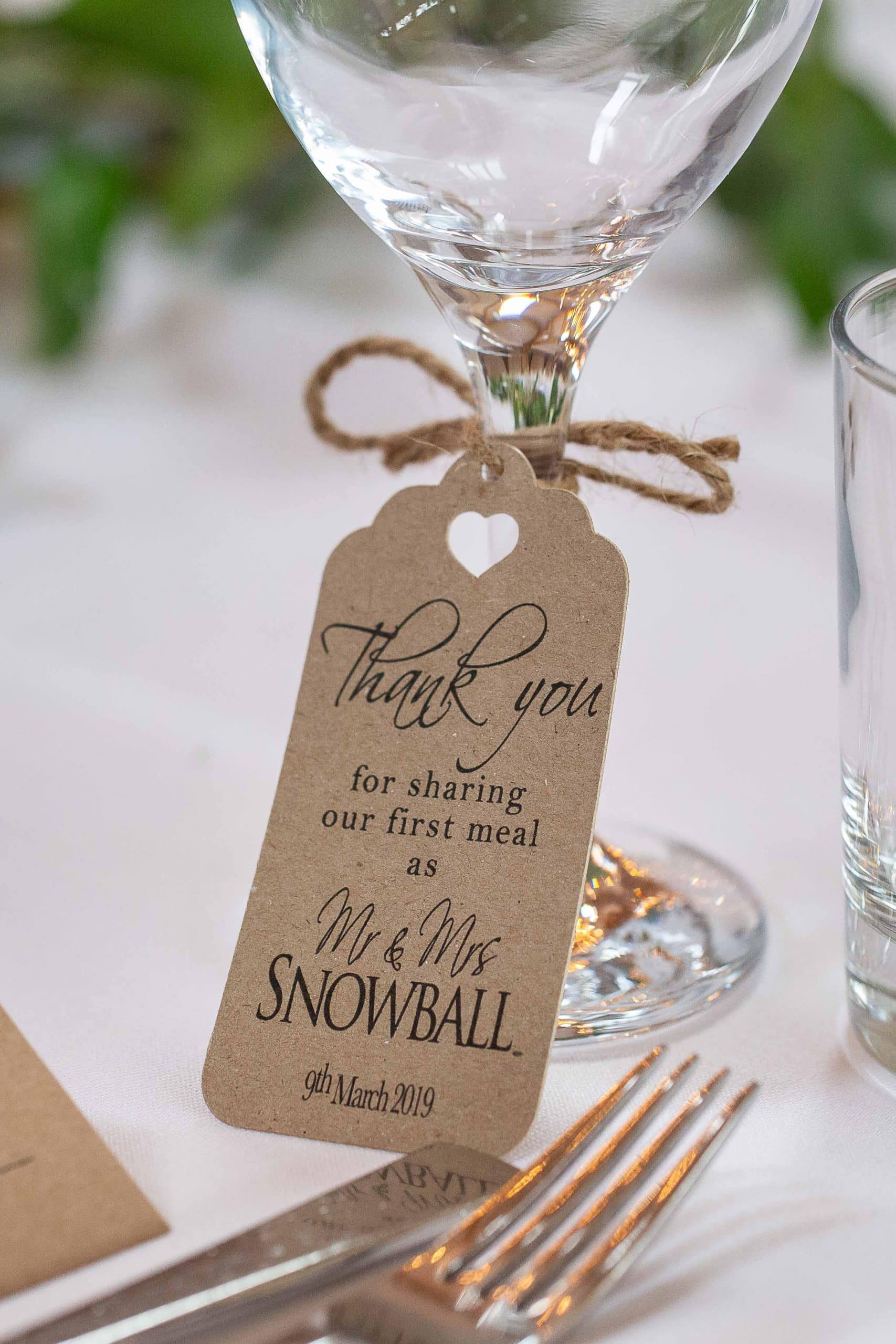 Wedding favours at Doxford Barns