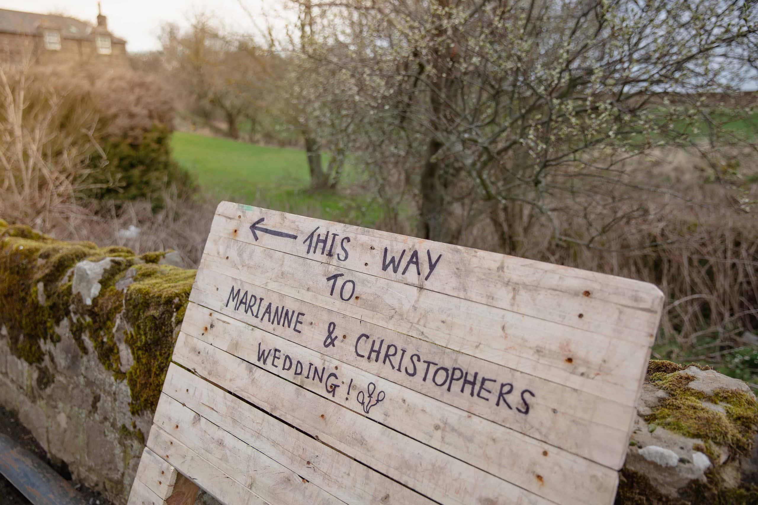 Wedding sign at Doxford Barns